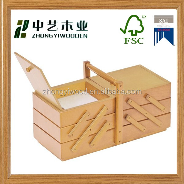 Wholesale FSC wooden sewing box with drawers