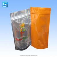 Customized printing the mass packaging of transparent ziplock stand up food vacum plastic bag with sea salt