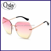 Pink UV400 Cheap Italy Wholesale Oversized Clear Lens Rimless Sunglasses