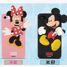 soft silicone couples case cell phone rubber cover cute 3D Mickey Mouse & Minnie Mouse case for iphone 5
