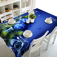Table Cover Custom Design Christmas Tree Decoration Blue Sequin Plastic Linen Tablecloth