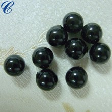 Black Round Pearls Glass Beads Fit Bracelets 10mm