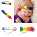 A32 aliepress new children's hair with 6 roses with 12 color fine elastic Headband Tiara