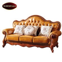 118-L-3 Luxury Living Room Furniture Exclusive Royal Victorian Three Seat Leather Sofa