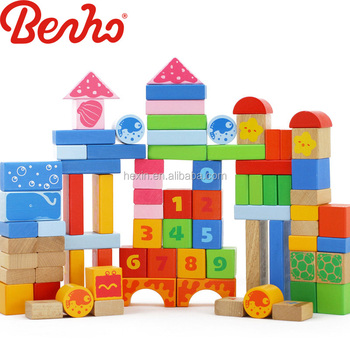 80PCS Ocean Blocks Wooden Building Baby Toys