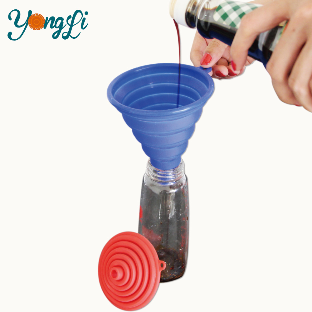 Wholesale BPA Free Large and Mini Multifunctional Kitchen Foldable Rubber Silicone Funnel