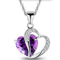 2018 Fashion Heart Pendant Necklace Zircon Crystal jewelry Wholesale