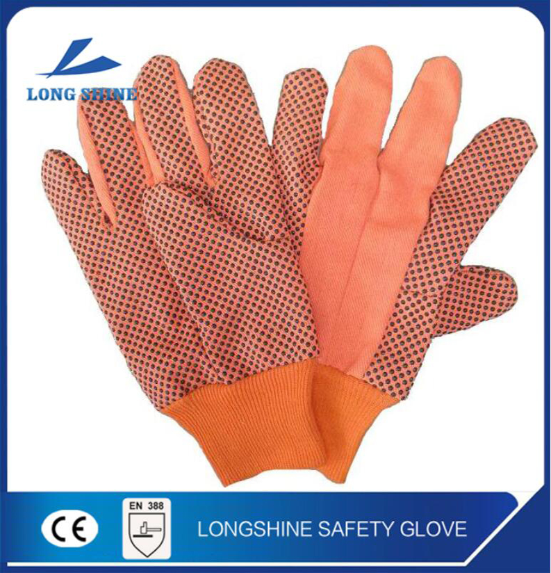 high quality black pvc dotted nylon liner construction work safety gloves with ce certification