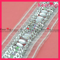 2014 Handmade silver sequin embroidery fabric with beads WTP-1167