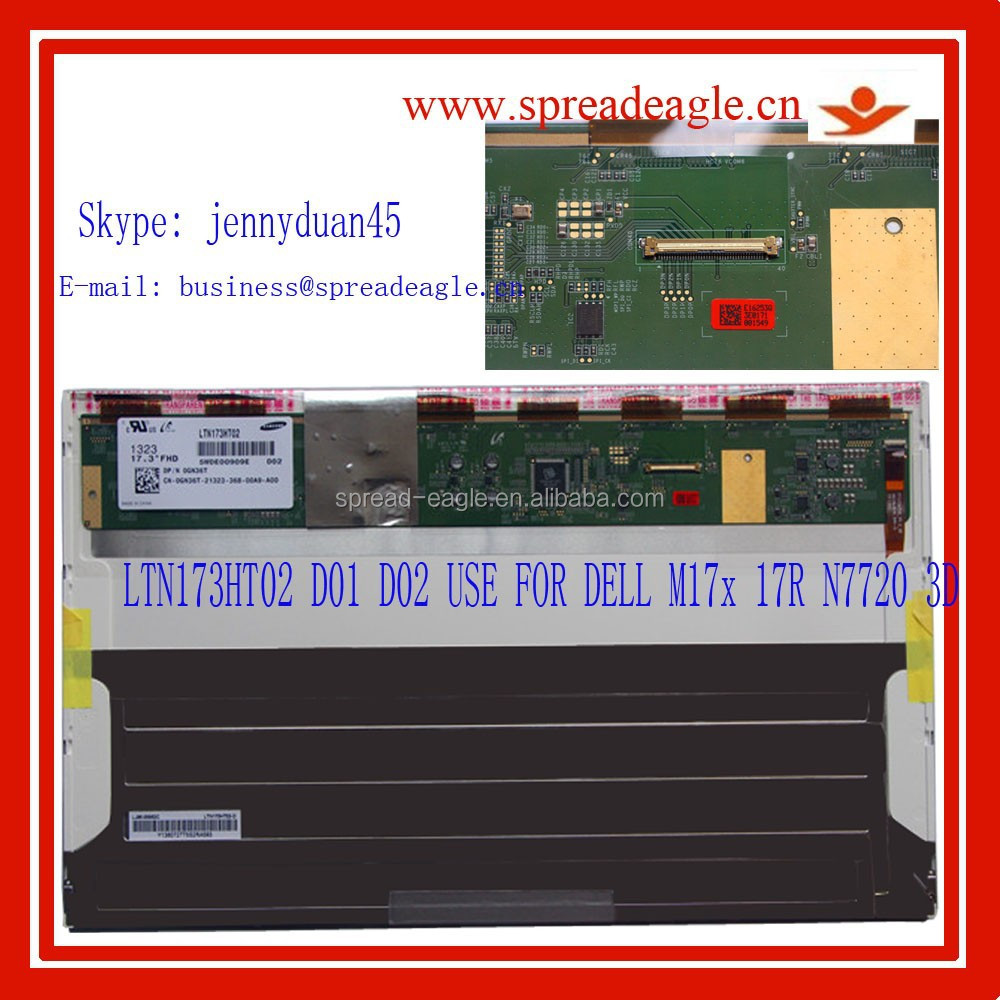 "LTN173HT02 LAPTOP LCD SCREEN LTN173HT02-D02 17.3"" Full-HD LED 3D Panel 120HZ for DELL Alienware M17X 0GN36T GN36T"