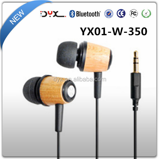3.5mm plug noise cancelling wooden stereo earphone for mobile phone