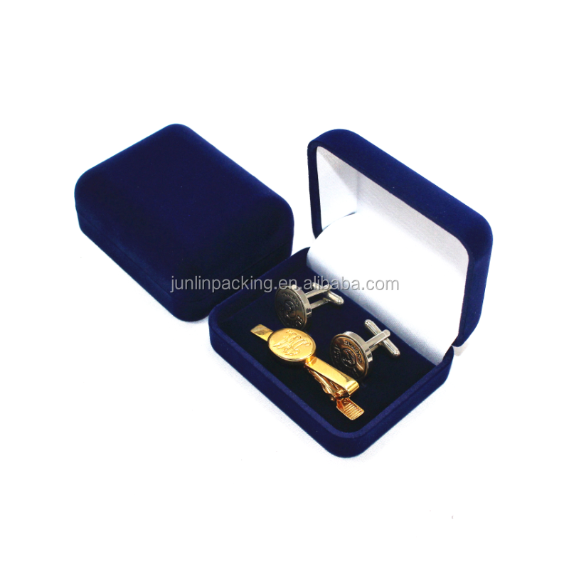 Deep blue plastic shell with flocking cufflink tie clip box packaging