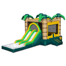 Guangzhou Manufacturer, High Quality Inflatable Water bounce slide, palm tree bouncy castle with slide