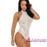Sexy teddy wholesale Off-white Boho Lace Bodysuit with Halter Neck preteen lingerie