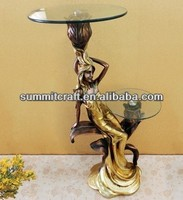 Double desk design sexy lady figurine antique carved tea table creative bar decoration