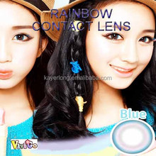 dolly eye look cosmetic soft contact lenses raibow blue