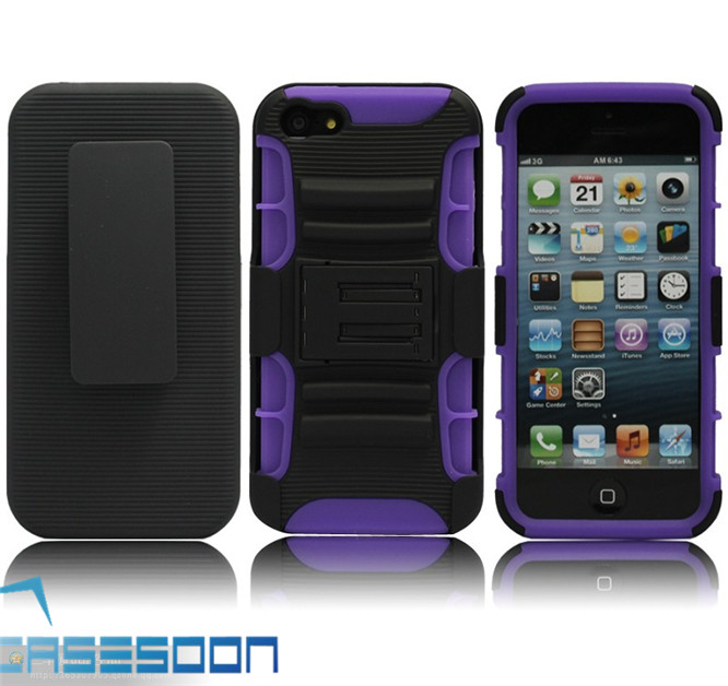 Mobile Phone Hybird Holster Belt Clip Rubberizes Silicone Combo Stand Case For Apple iPhone 4S 4G