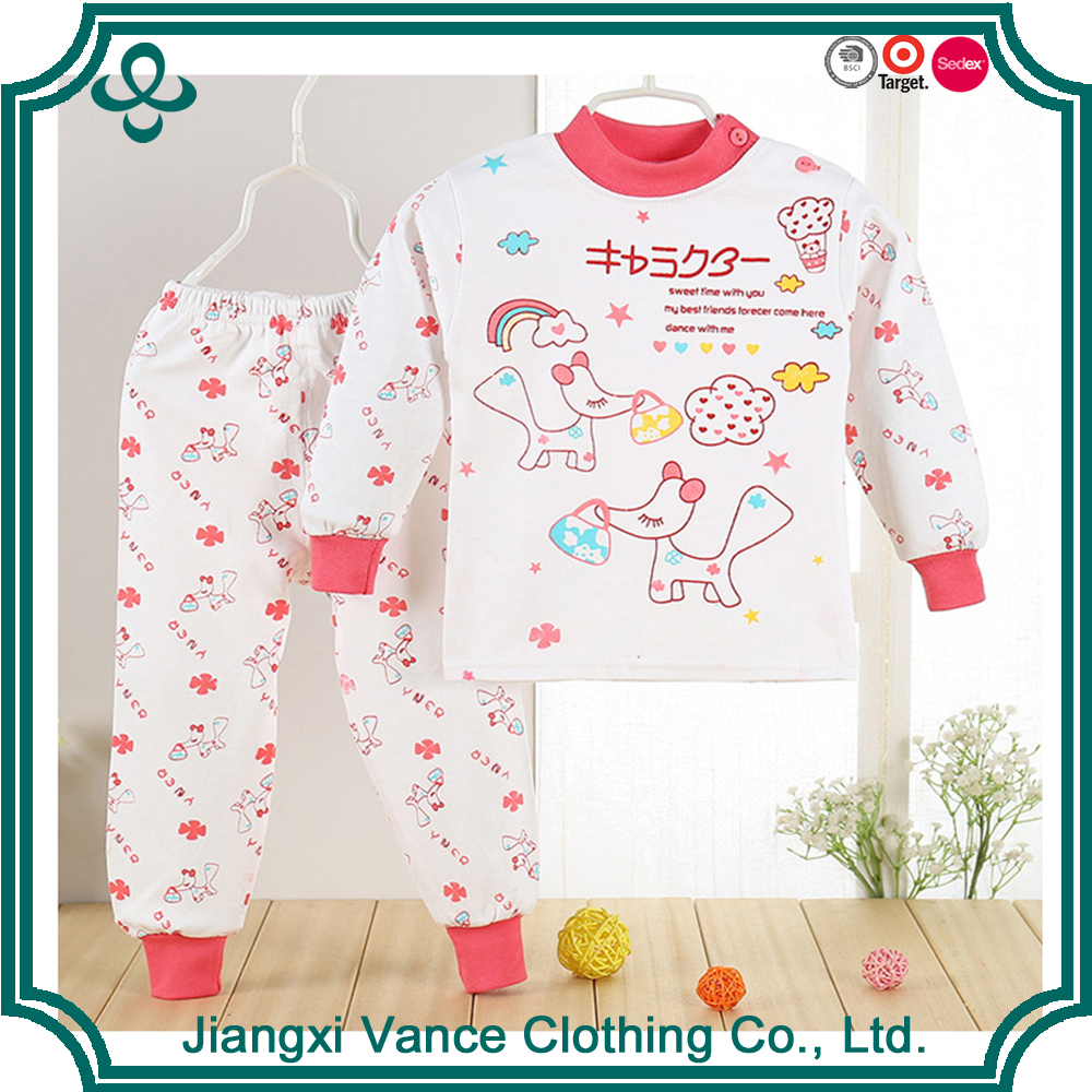 Fashion Frock Designs Kids Home Wear Printing Pajamas Clothing Sets For Child