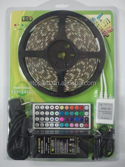 Blister packing remote+12v power adapter+5m RGB led strip light kit