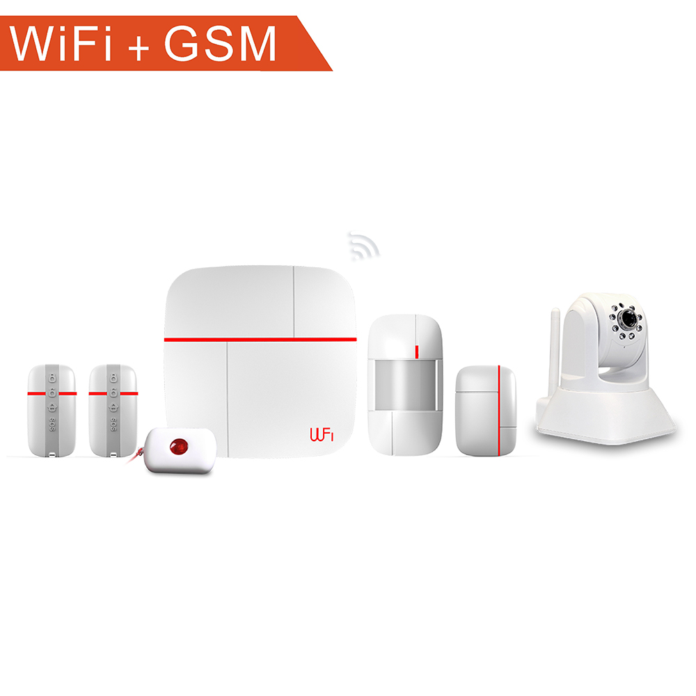 Home burglar alarm security system/GSM + Wifi wireless home business security with IP camera