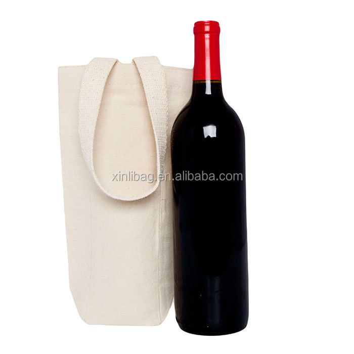 Single Bottle Canvas Wine Tote Bag