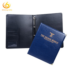 Manufature Customized Leather Ring Planner 4 holes Ring Binder With Glod Printing