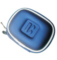 GC--Supply Blue pu cover jersey lining embossed logo cute headphone eva pouch