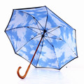 High Quality New Blue Sky White Cloud Double Layer Parasol,Fiberglass Umbrella Wood Handle