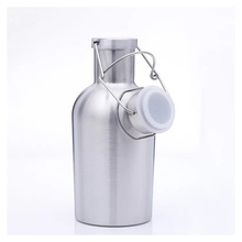 Round body customized Logo vacuum 1 liter stainless steel water bottle