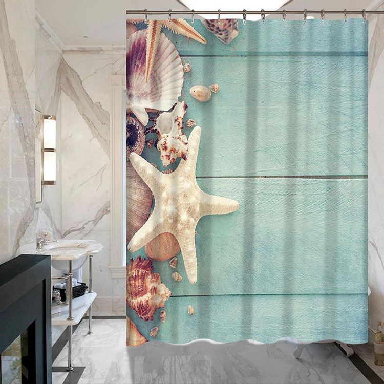 3D Starfish Series Digital Printing Starfish Polyester Fiber Waterproof Custom Shower Curtain
