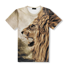US fashion lion pitcure print high end mens 3D T shirt