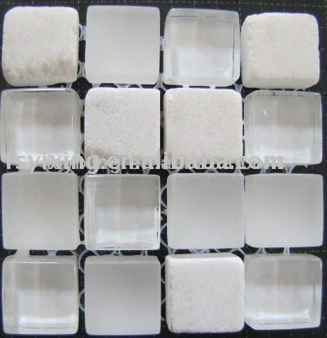 interior decorative glass mix stone white crystal mosaic tile