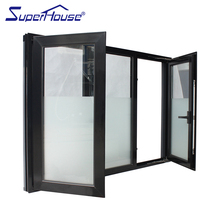 High quality China factory custom made Luxury hurricane impact glass french window frame