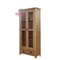316 Natural chunky solid oak display cabinet/living room furniture