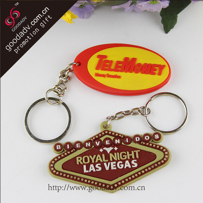 Business promotional gift pvc keychain Custom 3d logo key chain ring