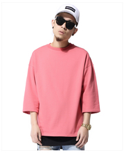 Mens pink side slit thick 3/4 sleeve loose t shirt