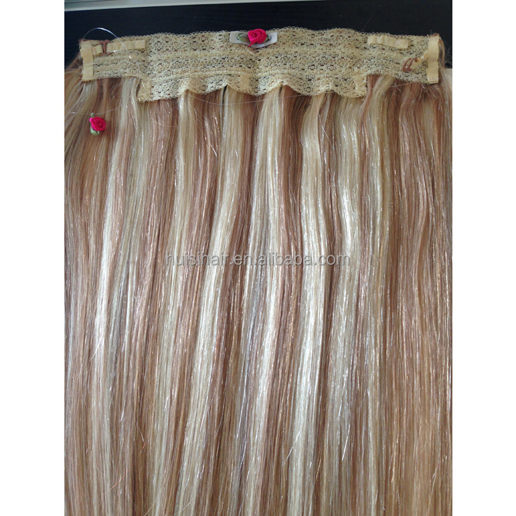 "Top selling in alibaba USA Hotsale Top selling in alibaba high quality 16"" flip halo hair one piece double drawn hair"