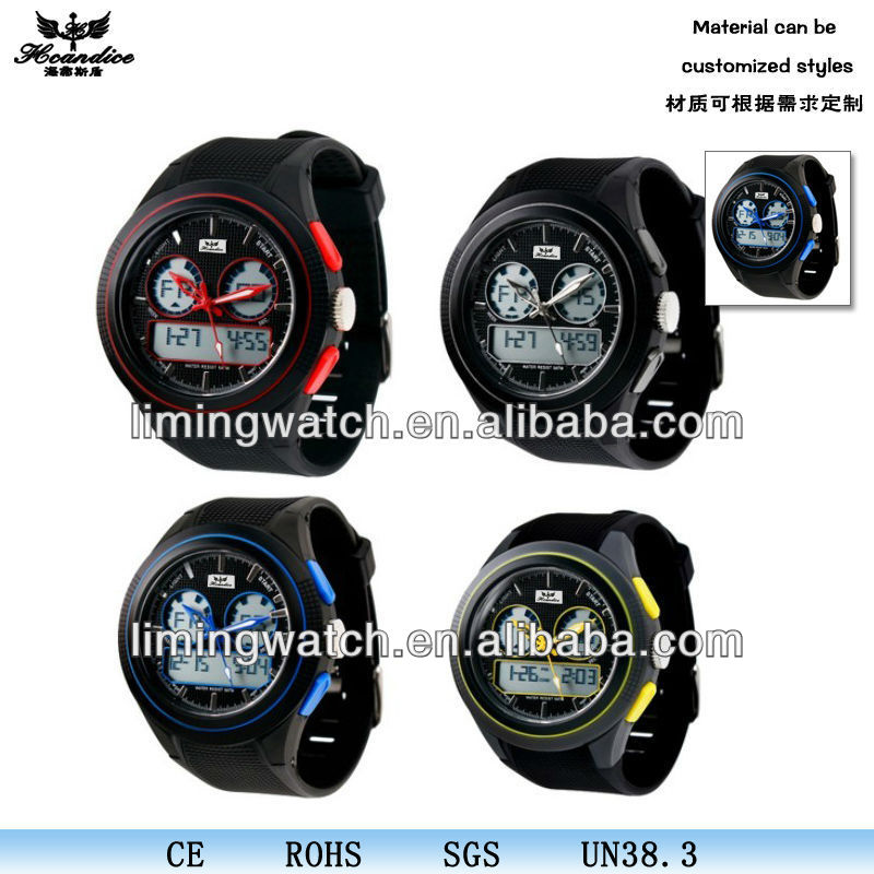 China professional custom logo plastic led quartz watches& auto date & alarm clock & stop