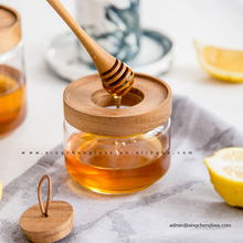 8oz wholesale cheap glass honey jar with wood lid and spoon