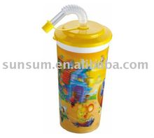 Plastic 3D Straw Cup For Children