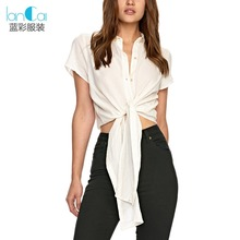 Women casual shirt blouse new design crop top