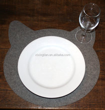 Cat Head Placemat 3mm Thick Wool Felt Eco Friendly Tabletop Felted Place Mat
