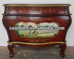 CF30152D 3-Drawer Hall Chest-Hand Painted Floral console Table Luxury Cabinet
