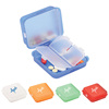 Plastic Imprinted Clamshell Double Layer Pill Box with 4 divider combination