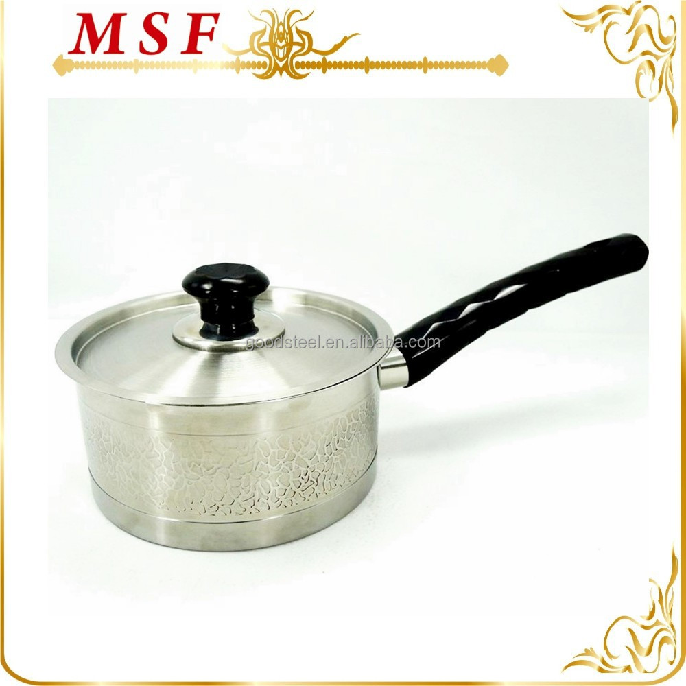 etching surface exterior and diamond bakelite handles milk boiling pot