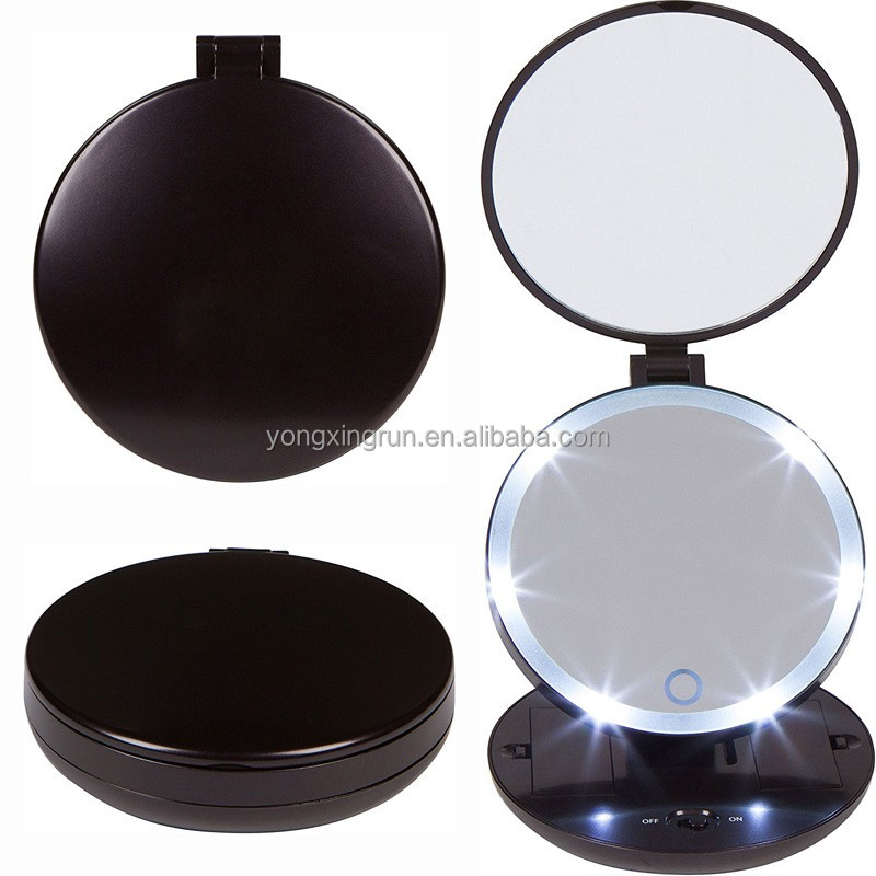YXR-M4 Round Two Sides 1X and 5X Magnifying Pocket Compact Handheld Folding Travel LED Makeup Mirror with Light