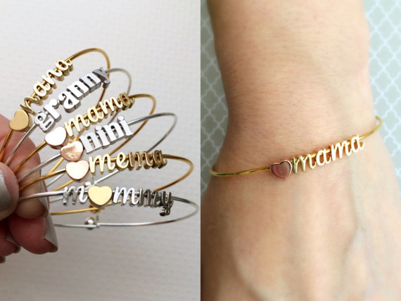 Custom Personalized Initial Any Charm Silver Bangle Bracelet For Mothers Day Gifts