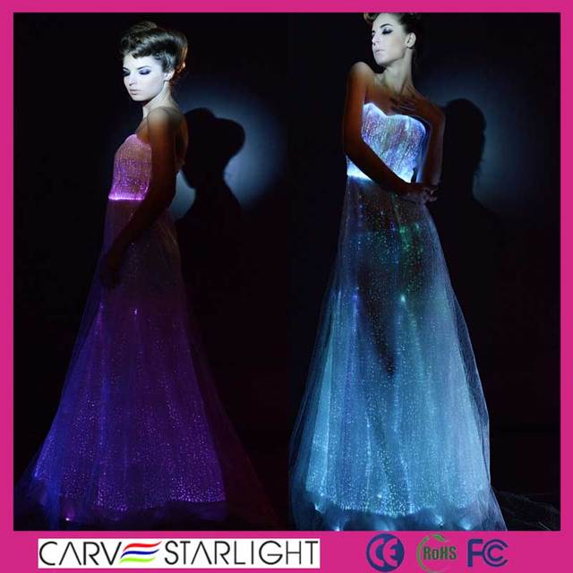 2015 LED glowing color fiber optical luxury bridesmaid dresses