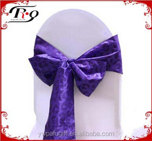 wedding party purple color satin wedding chair sashes