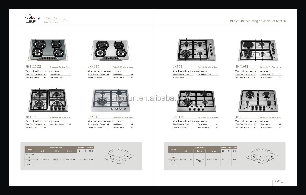 Lastest model built-in 4 burners gas stover with electric heating plate